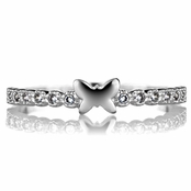 Elle's Butterfly Charm and CZ Petite Stackable Ring Band