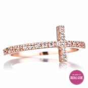 Elle's Rose Goldtone Sideways CZ Cross Ring