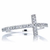 Elle's Silvertone Sideways CZ Cross Ring