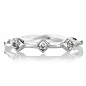 Elle's Twisted Silvertone CZ Petite Stackable Ring Band
