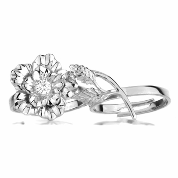 Elle's Silvertone Two Finger Flower Ring