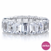 Ellie's Silvertone Emerald Cut CZ Eternity Ring