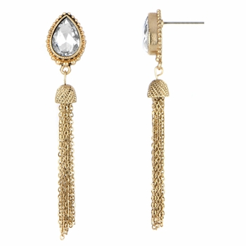 Elora's Goldtone Pear Cut Tassle Dangle Earrings - Clear