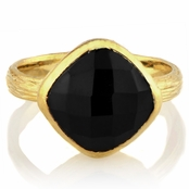 Emani's Cushion Cut Black Stone Goldtone Cocktail Ring