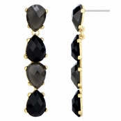 Embeline's Grey and Black Pear Drop Earrings