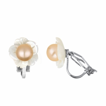 Ember's 6mm Pink Imitation Pearl Flower Clip On Earrings