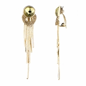 Emely's Goldtone Fringe Dangle Clip On Earrings
