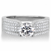Emiliya's 5 Row CZ and Silvertone Engagement Ring