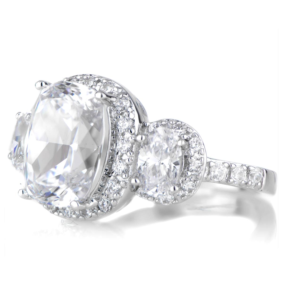 Emily s 3 Stone Halo Cushion Cut Engagement Ring