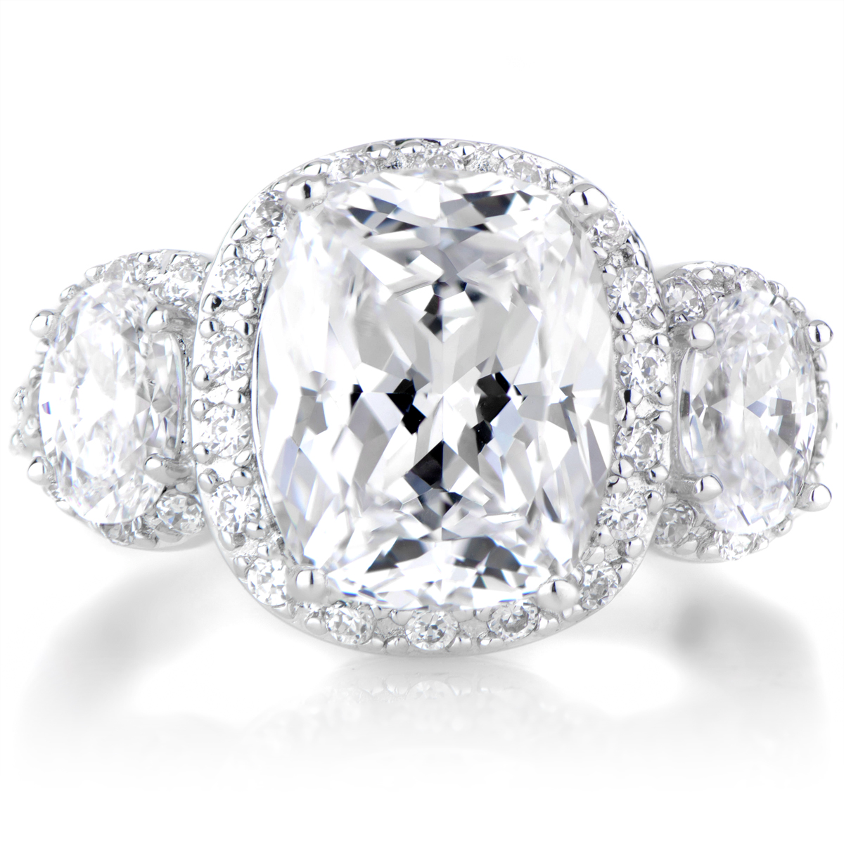 Emily's 3 Stone Halo Cushion Cut Engagement Ring
