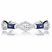 Emmalyn's Antique Style Blue CZ Eternity Ring Band