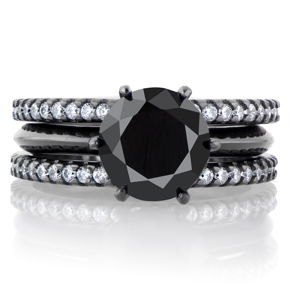 enyas black cz triple row wedding ring set roll off image to close zoom window - Black Wedding Rings Sets