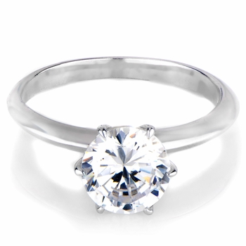 Enya's 2.25 Carats Round Cut Cubic Zirconia Engagement Ring