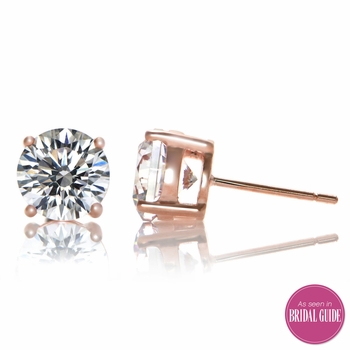 Estefany's 8mm CZ Stud Earrings - Rose Goldtone