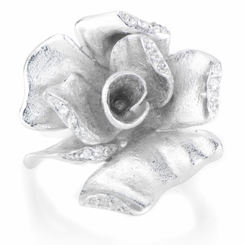 Estelle's Silvertone CZ Flower Ring