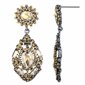 Evara's Fancy Antique Champagne Rhinestone Dangle Earrings
