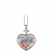 Everyly's Silver Dried Flower Glass Heart Locket Necklace - Red and Turquoise