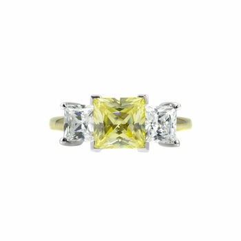 Exclusive 14K Rings: Menlo Park Canary CZ Ring - 14K Gold