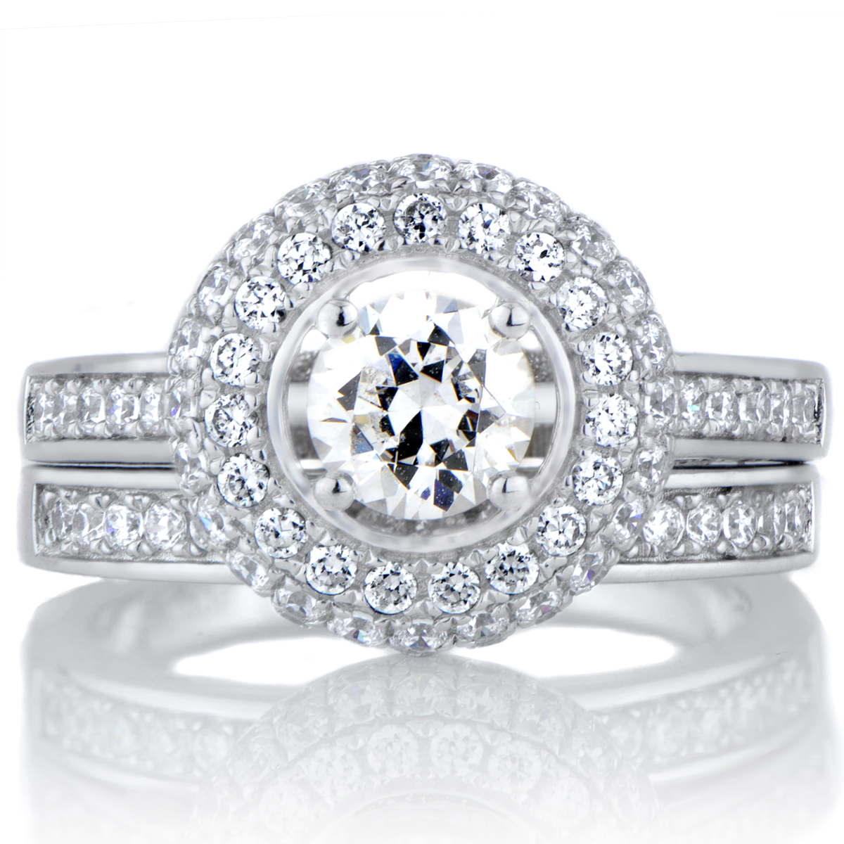 Halo Cubic Zirconia Wedding Ring Set