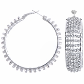 Heather's 54mm Rhinestone Fancy Hoop Earrings