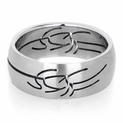 Felipe's Tribal Design Stainless Steel Men's Ring