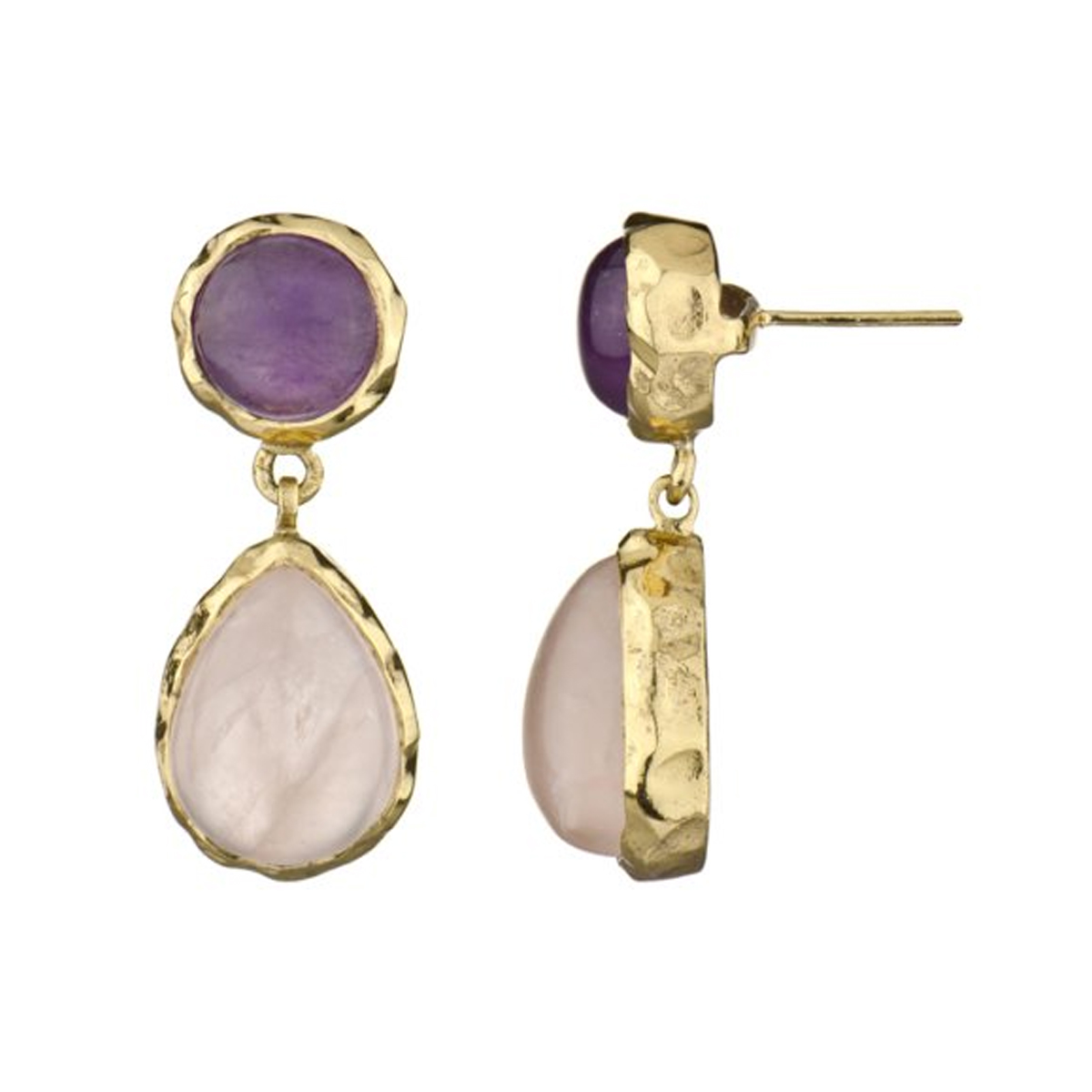 Earrings  Imitation Rose Quartz And Amethyst Roll Off Image To Close  Zoom Window