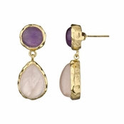 Fia's Gold Tone Pear Drop Earrings - Imitation Rose Quartz and Amethyst