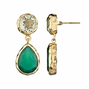 Fia's Goldtone Pear Drop Earrings - Imitation Green Amethyst & Onyx