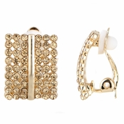 Fianna's Goldtone Rhinestone Half Hoop Clip On Earrings