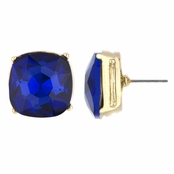 Gabriela's 14mm Cushion Stud Earrings - Blue