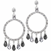 Gale's Black & White CZ Circle Chandelier Earrings