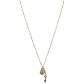 Gemma's Goldtone Key and Cubic Zirconia Charm Necklace