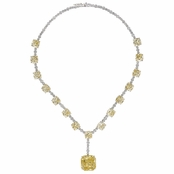 Geraldine's Fancy Cushion Cut Canary CZ Tennis Necklace
