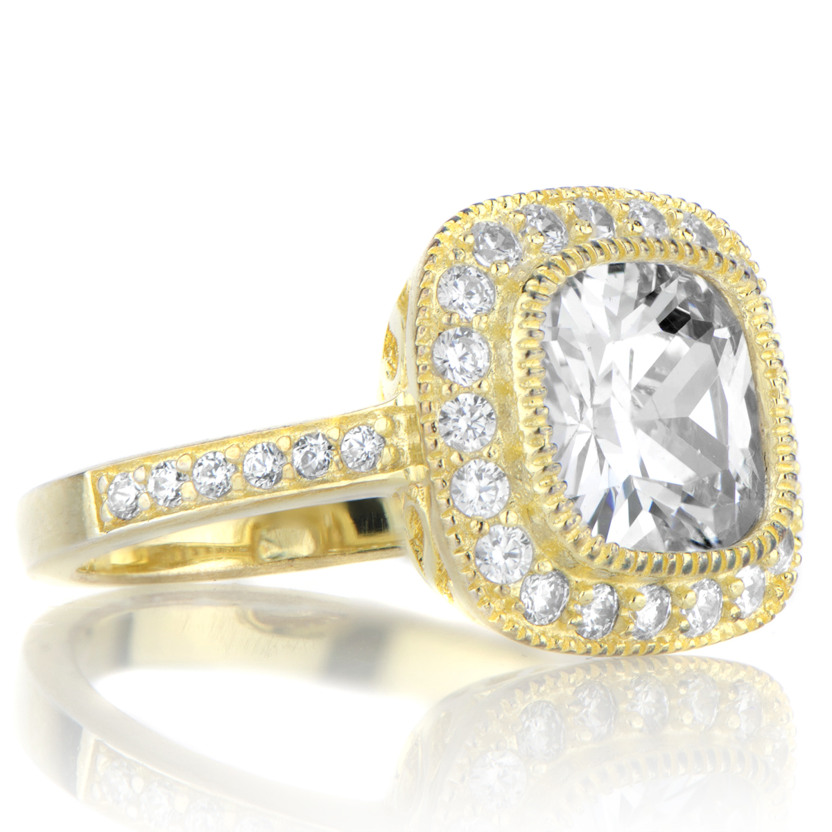 Gina's Vintage Style Cushion Cut Cz Engagement Ring  Goldtone