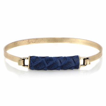 Gisele's Blue and Goldtone Leather Bangle Bracelet