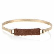Gisele's Brown and Goldtone Leather Bangle Bracelet