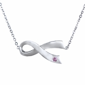 Silvertone Breast Cancer Awareness Sideways Ribbon Necklace