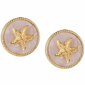 Gloria's Round Starfish Goldtone Pink Stud Earrings