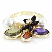 Gypsy's Imitation Pearl & CZ Charm Ring