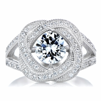 Hallie's Silvertone and CZ Love Knot Ring