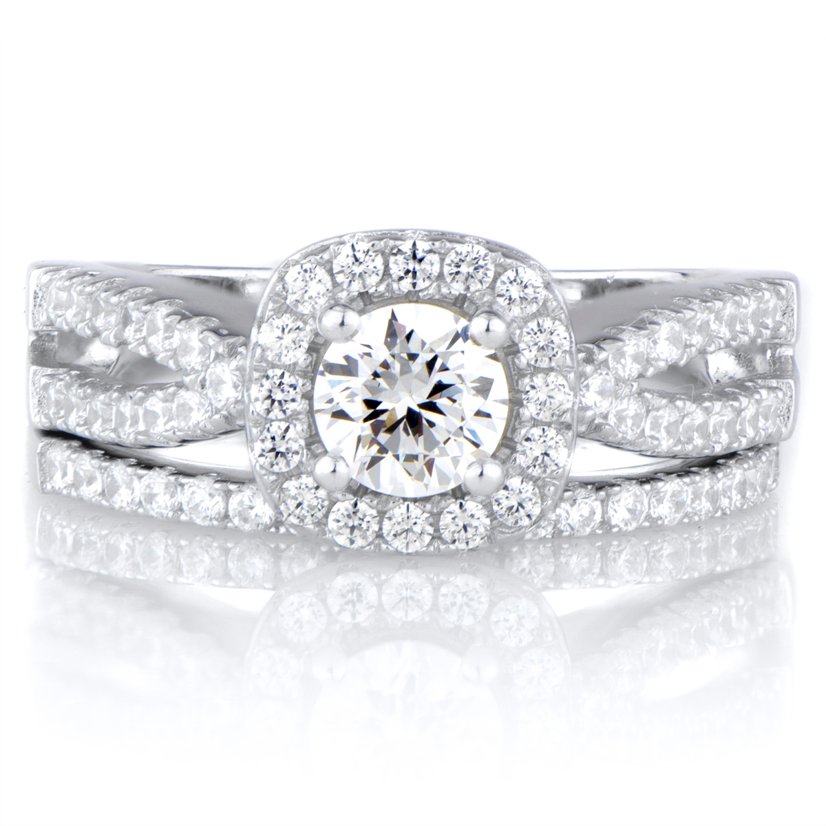 Round Cut Split Band CZ Wedding Ring Set