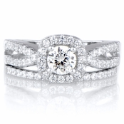 Damini's Round Cut Split Band CZ Wedding Ring Set