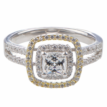 Hazel's Cushion Cut Two Tone Halo Engagement Ring