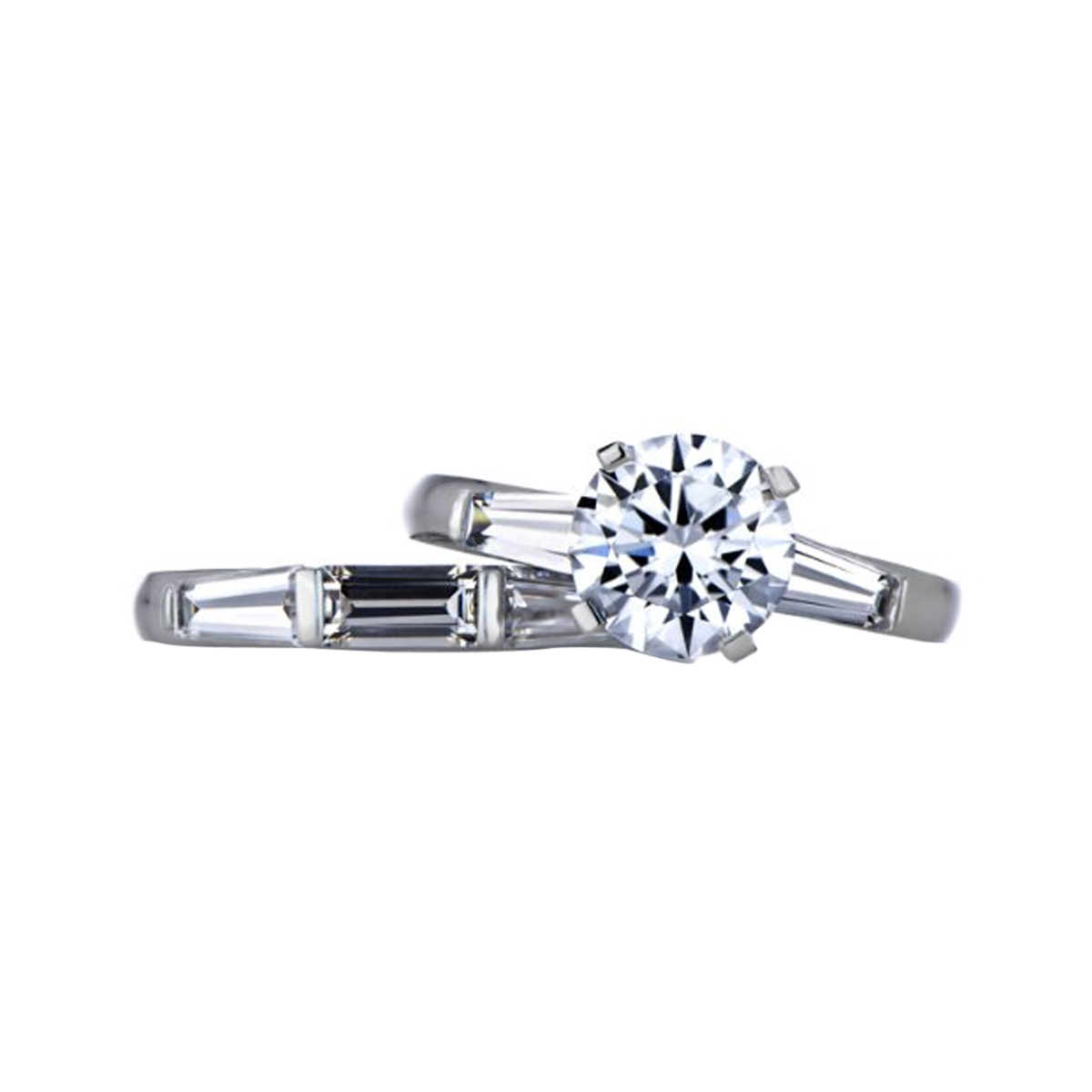 Hazels Round Baguette Cut CZ Wedding Ring Set