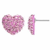Nina's Pink Rhinestone Heart Stud Earrings
