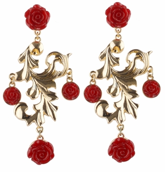 Honey's Goldtone and Red Rose Chandelier Earrings