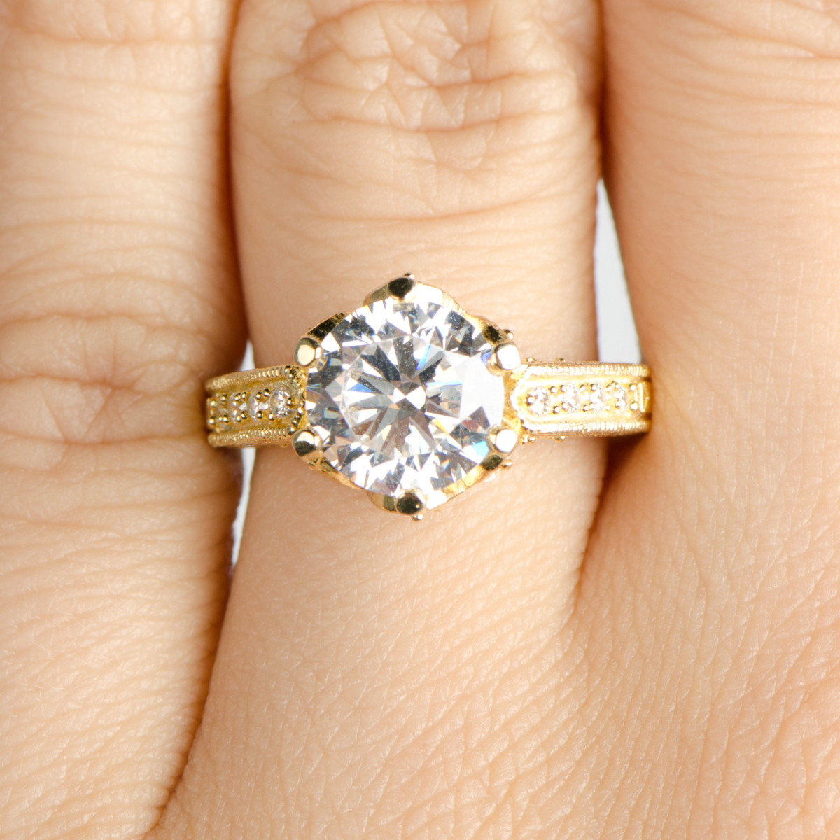 Hope's 25ct Round Cut Cz Crown Set Goldtone Engagement Ring