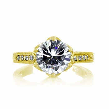 Hope's 2.5ct Round Cut CZ Crown Set Goldtone Engagement Ring
