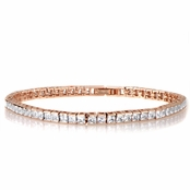 Imari's 8in Princess Cut Rose Goldtone Cubic Zirconia Tennis Bracelet