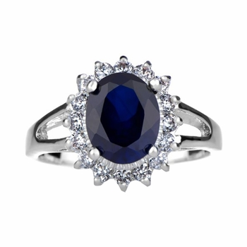 Blue CZ Royal Style Engagement Ring: Silvertone